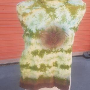 Custom Bohemian Green Tan tiedye Top T-shirt